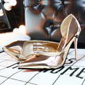 2017 European Fashion Sexy Nightclub with Fine Pointed Shoes Asakuchi Hollow Metal Surface Simple Women High-heeled Shoes