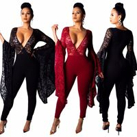 Lace Jumpsuit Women Summer Sexy Deep V Neck Bodycon Large Bell Long Sleeve Skinny Slim Fit Jumpsuit Plus Size