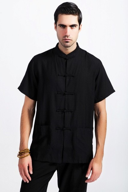 Black Fashion Tradition Chinese summer Men's Linen Kung-Fu Shirt with Pocket M L XL XXL XXXL Free Shipping 2350-3