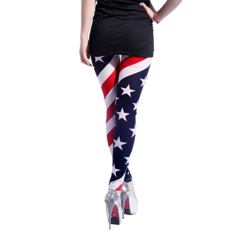 Fashion Women American US Star Flag Fall Stretchy Slim High Waist Leggings Pencil Pants