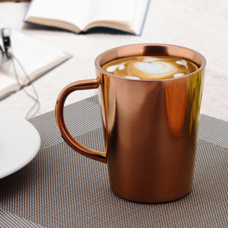 Stainless Steel Coffee Mugs Milk And Coffee Mugs Thickened Double Wall Tea Cups Big Travel Mug Camping Mugs With Handle 350ml in Mugs from Home Garden