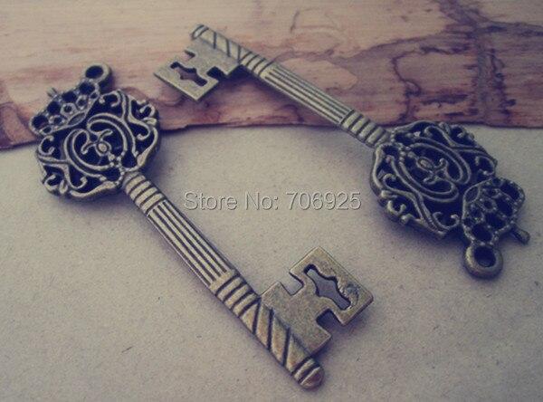 12pcslot  antique bronze Key necklace pendant Charms 22mmx67mm