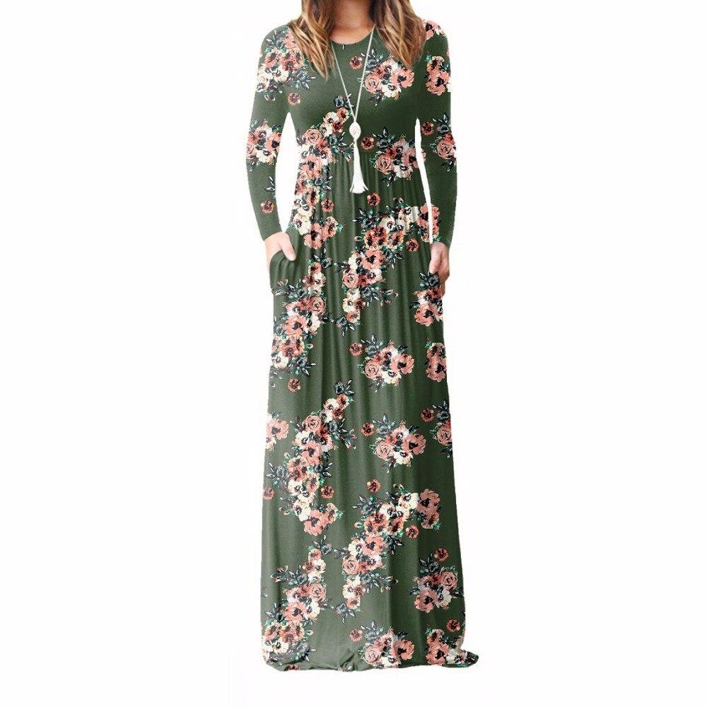 XXL Plus Größe Lange Kleid Frauen 2018 Herbst Neue Gedruckt Maxi Kleid Dropship Casual Boden-Länge Sommerkleid Taschen Partei 7 farben