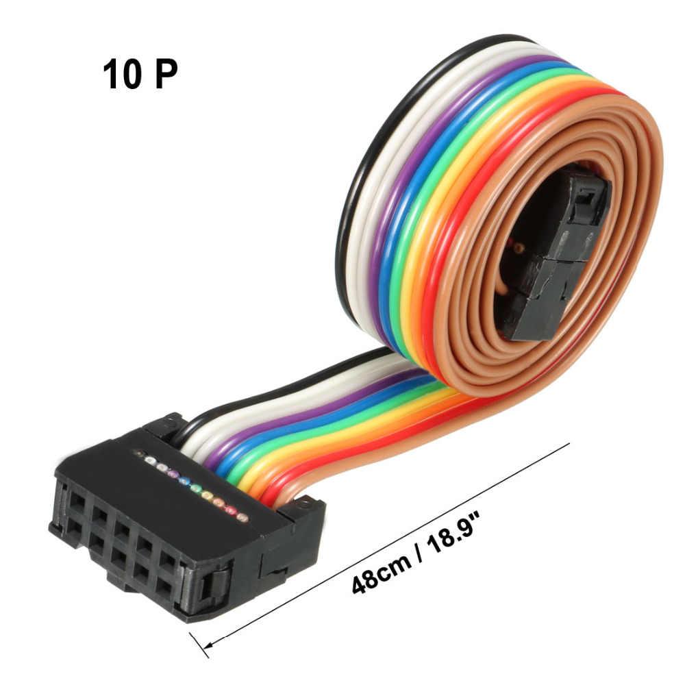 Uxcell 1 sztuk IDC 10 pinów 48/66/118/148cm długości 2.54mm kolor tęczy/szary Pitch elastyczna płaska wstążka kabel Jumper dla PCB