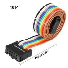 цена на Uxcell 1pcs IDC 10 Pins 48/66/118/148cm Long 2.54mm Rainbow Color/Gray Pitch Flexible Flat Ribbon Jumper Cable for PCB