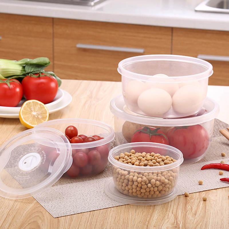 4pcs-set-Round-Plastic-Food-Container-Refrigerator-Crisper-Box-4-Sizes-Vegetable-Food-Preservation-Storage-Box