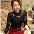 YEYELANA 2017 New Women Blouses Spring Blusas Slim Sexy Casual Lace Blouse Openwork Long Sleeve Shirt Women clothing Tops A006