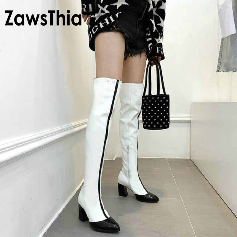 ZawsThia 2019 winter patent PU leather white contrast color block high heels woman shoes sexy over the knee high boots overknees