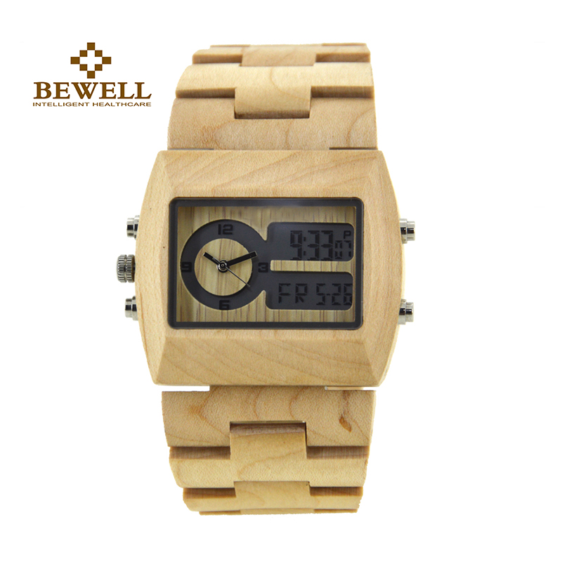 BEWELL Men's Watches Handmade Wooden Watches Quartz Dual Time Zone Wooden Watch Rectangle Dial Luxury Brand Unique Creative 021A bewell multifunctional wooden watches men dual time zone digital wristwatch led rectangle dial alarm clock with watch box 021a
