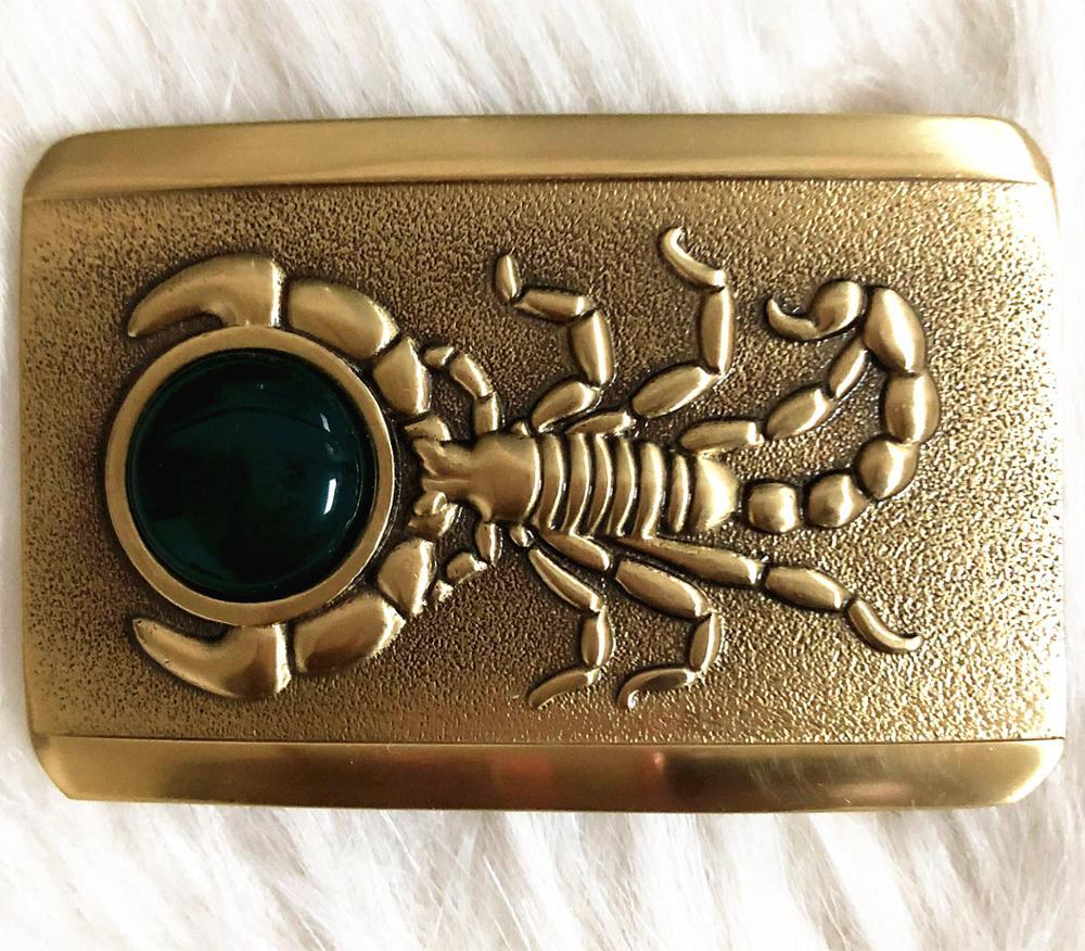 New Pure Copper Shiny Vintage Antique Belt Buckle   Scorpion&jade Western Cowboy Mens Fashion Fine Accessory