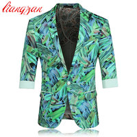 Men Floral Blazer Suit Brand Casual Business Cotton Suit Blazer Spring Autumn Three Quarter Plus Size Korean Suit Jacket F2228
