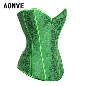 Image 2 - AONVE Corset Sexy Lingerie Brocade Royal Wedding Jarquard Corsets and Bustiers for Women Modeling Strap Sexy Green