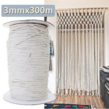 3 мм 300 м Диаметр хлопка витой шнур веревку ремесло макраме шнур Artcraft Строка DIY ручной работы шнур плетеный Цветной хлопок веревка