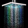 "Quality 8"" Square Bathroom LED Rain Top Shower Head 7 Colors Automatic Changing With Wall Mounted Or Ceiling Mounted Shower"