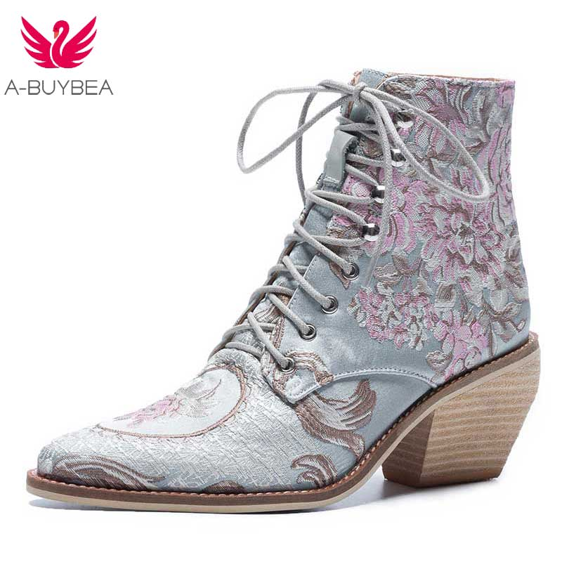 Women Casual Stacked High Heels Embroidery Flower Lace Up Ankle Boots Shoes Female Ladies Ankle Booties Silk Satin Footwear Boot flower embroidery bridal winter chinese lace up women ankle boots medium heel embroidered red satin wedding booties stiletto