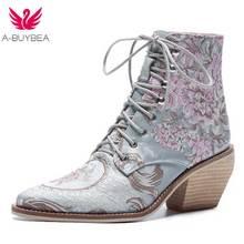 Женские повседневные ботильоны на высоком каблуке с вышитыми цветами и шнуровкой, женские ботильоны, шелковая атласная обувь
