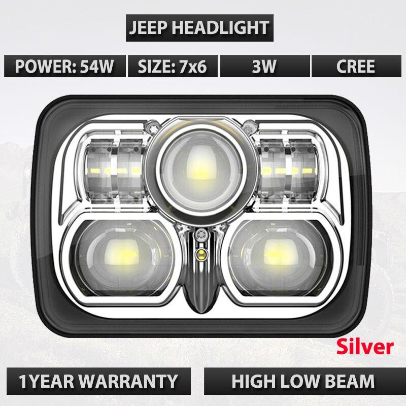 7х6 квадрат черный и серебряный цвет LED лампы 54ВТ 12В 24В передний свет водить работы с высокой низкий луч светодиодные фары дальнего света для бездорожья