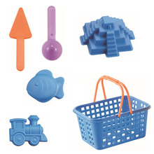 6Pcs/set  Beach Kids Toys Plastic Castle Sand Mold Fish Train Basket Holder Water Tools Water Playing Out Fun Educational Toys