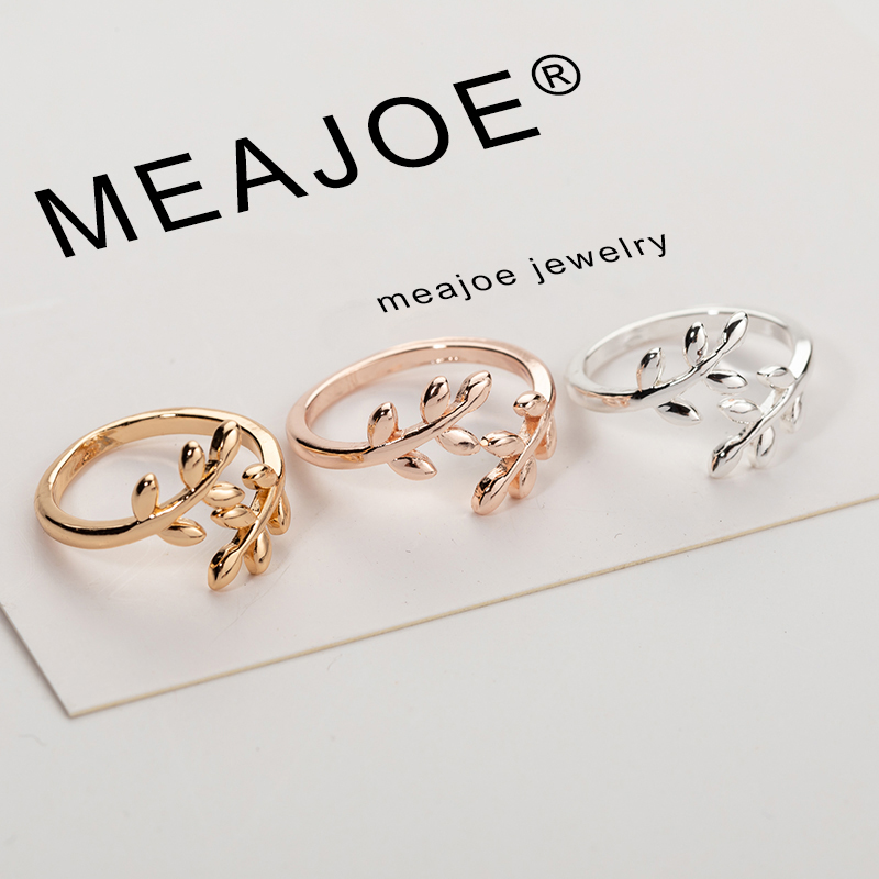 Charms Two colors Olive Tree Branch Leaves Open Ring for Women Girl Wedding Rings Adjustable Knuckle Finger Jewelry Xmas(China)
