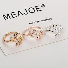 Амулеты двух цветов оливковое дерево ветка листья Открытое кольцо для женщин девушка обручальные кольца регулируемое; кулак палец ювелирные изделия Рождество