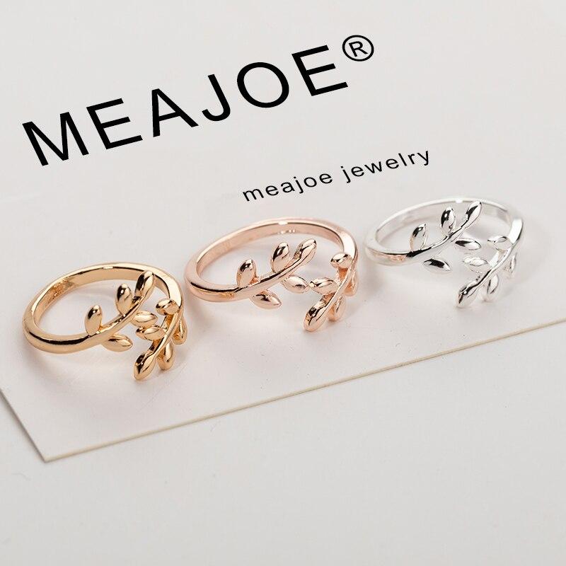 Очаровательные два цвета оливковое дерево ветка с листьями Открытое кольцо для женщин девушка свадебные кольца регулируемое; кулак украше...