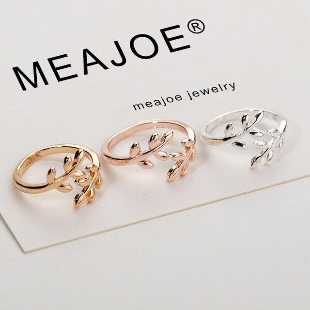 קסמי שני צבעים זית עץ סניף עלים פתוח טבעת לנשים ילדה חתונה טבעות מתכוונן Knuckle אצבע תכשיטי חג המולד