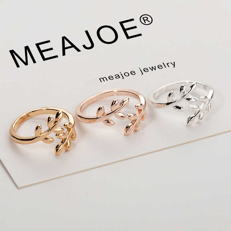 Charms สองสี Olive สาขาต้นไม้ใบเปิดแหวนผู้หญิงแต่งงานแหวนนิ้วมือเครื่องประดับ Xmas