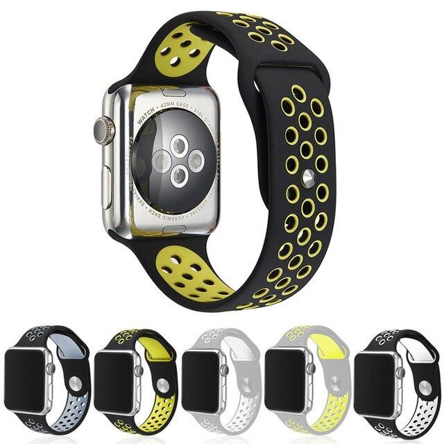 Ремешки для наручных часов Гибкая Дышащий Силиконовые Спортивные Группы Для Apple Watch Серии 1 и 2 42 ММ 38 ММ Резина Смотреть Band Для IWatch Черный Вольт