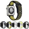 Correas de reloj flexible transpirable deportes banda de silicona para apple watch serie 1 & 2 42mm 38mm correa de reloj de caucho para iwatch negro volt