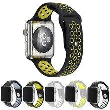 Bracelets Flexible Respirant Silicone Sport Band Pour Apple Watch Série 1 et 2 42 MM 38 MM En Caoutchouc Bande de Montre Pour IWatch Noir Volt