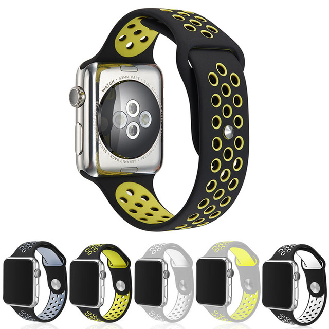 Watchbands Flexible Breathable Silicone Sports Band For Apple Watch Series 1&2 42MM 38MM Rubber Watch Band For IWatch Black Volt