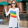 Nova Camisa Inverno T Longa Túnica Tops T-shirt Longos Da Luva Para As Mulheres Patchwork Moda Feminina de Algodão T-shirt Artigo Camisas Femininas