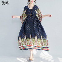 2019 Summer New Women Boho Chiffon Dress Ethnic Plus Size Printed Maxi Dresses Casual Loose Batwing Long Beach Dress 4XL 5XL 6XL