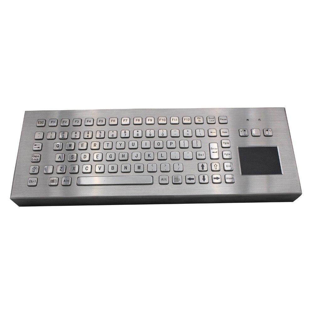 Desk Metal Kiosk Keyboard with Touchpad 86Keys Industrial Desktop Keyboard Water proof With Touchpad