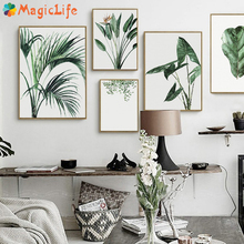 Watercolor Green Plants Leaf Decor Wall Art Canvas Painting Poster Pictures For Living Room Prints Unframed