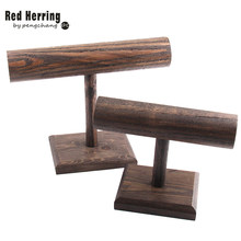 Free Shipping DIY Brown Wood Display T-BAR Watch/Bracelet Jewelry Display Stand Holder(China)