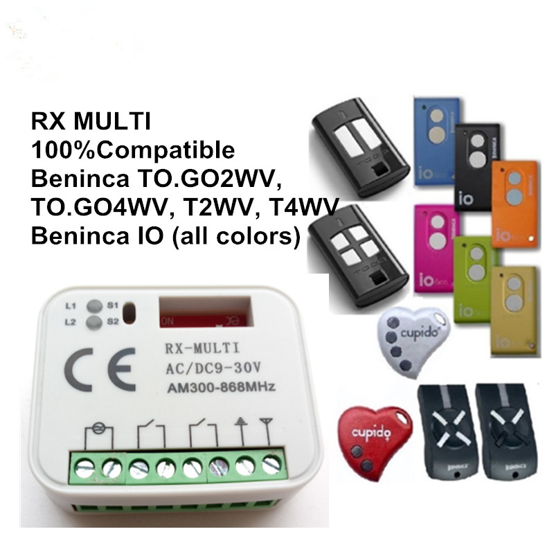 2018 New RX MULTI 300-900MHZ Beninca TO GO 2WV TO.GO4WV 433.92MHZ Rolling code Remote control receiver swtich