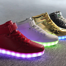 High Top LED Shoes Men New Style Neon Shoes USB Charging Luminous Light Up Couple Glowing Shoes Man Flat With Unisex Hot Fashion