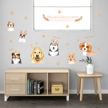 Removable Wall Stickers Cartoon Hand Painted Dog Wall Paste Vinyl Door Home Mural Wall Decal Furnishings Decorative Sticker(China)