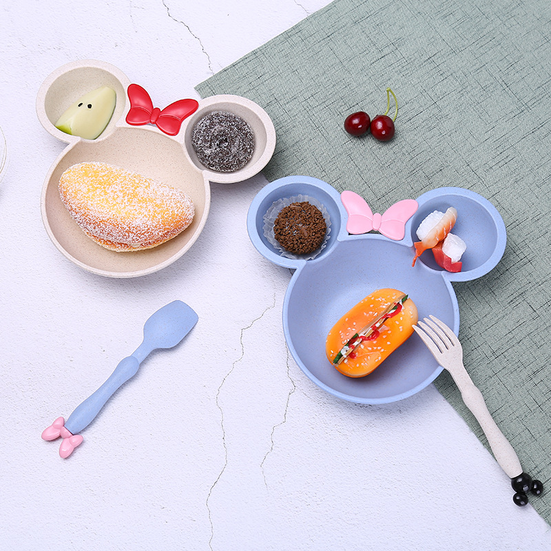 Lunch Box Cartoon Mouse Bowl Children Plates Bowl With Grid Wheat Fiber Colorful Kid Cutlery Christmas Dinnerware Food Container in Bowls from Home Garden