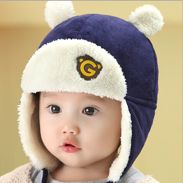 Baby boy and girl hats autumn and winter plus velvet ear cap children Lei  Feng hat 15025323fd8f