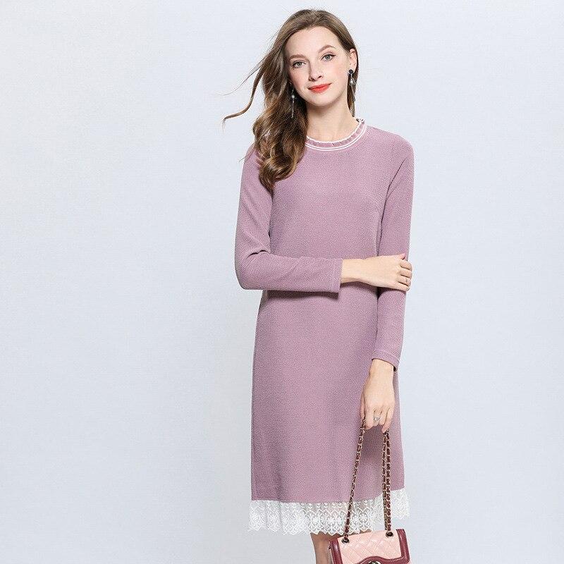 Delle Elegante Vestito Grandi Xxxxxl Del Bella Midi Coltivare Di Increspato Colore Merletto Da Inverno A Vestidos Rosa Signore Partito Maglione Maglia Dimensioni Lavorato 0XwqXnrp