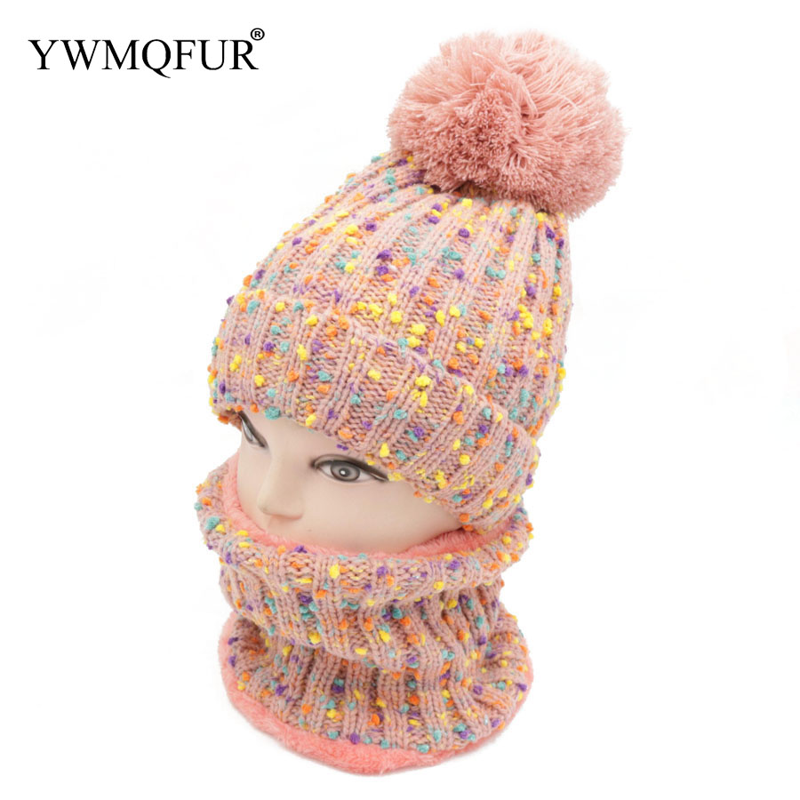 Winter Thicker Hat Scarf Sets For Adult Knitted Cotton With Cute Ball Top Quality Keep Warm Women Caps & Scarves YWMQFUR