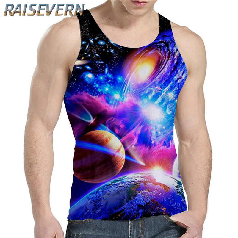 RAISEVERN Mens Tank Top Undershirts Sexy Summer 3D Galaxy Space Printed Top Tees Shirts Sleeveless Stringer Sinlets Bodybuilding