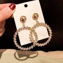 pair of graceful rhinestone circle earrings jewelry for women Big Round Circle Earrings For Women 2019 New Geometric Statement Shinning Rhinestone kolczyki Jewelry Wholesale