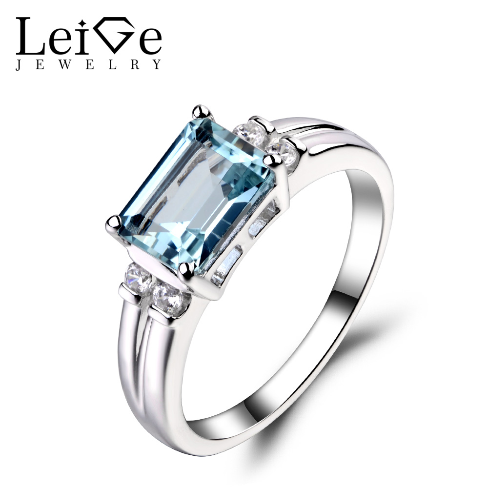 Leige Jewelry Natural Aquamarine Ring Sterling Sliver 925 Fine Jewelry Emerald Cut Engagement Rings For Woman March Birthstone