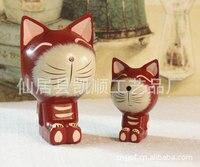 Fabbrica diretta creativo artigianato Decorazione Della Casa Dipinta set di due dimensioni Red Cat JP0668