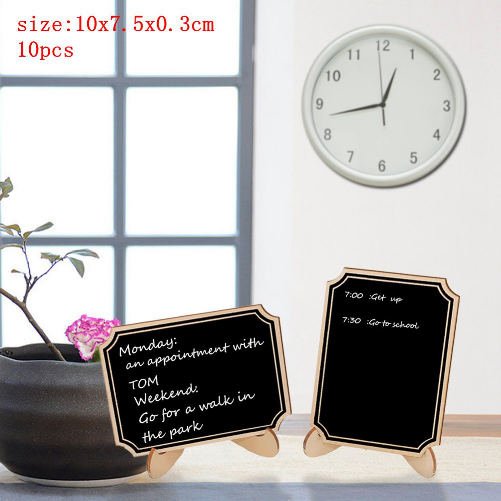 10Pcs/Lot Wooden Mini Blackboard Chalk Board Message Craft Supplies Hot Calkbourd Signs Wedding Decor Framed Table Number Stand