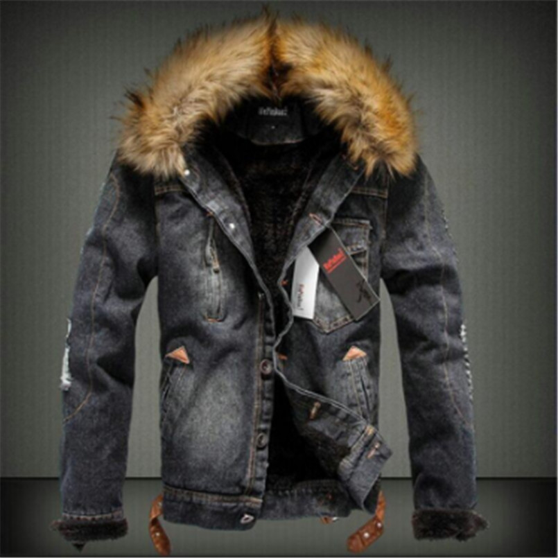 Image 3 - drop shipping 2018 new men jeans jacket and coats denim thick warm winter outwear S 4XL LBZ21-in Jackets from Men's Clothing
