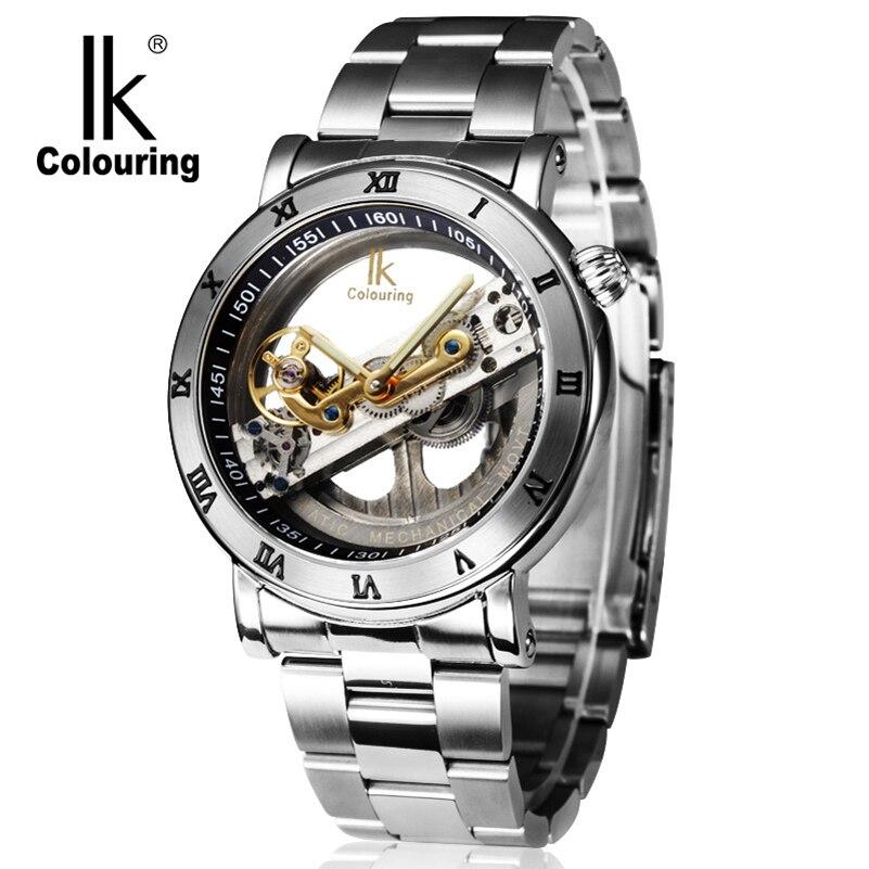 Fashion Luxury Mechanical Waterproof Men Watch Top Brand IK  Skeleton Automatic Stainless Steel Strap Casual Wristwatch Relojes свитшот print bar сделана в 1987 чтобы быть прекрасной